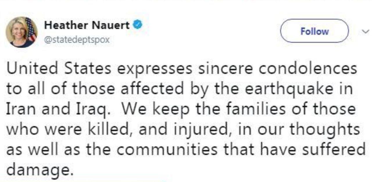 همدردی وزارت خارجه آمریکا با حادثهدیدگان زلزله ایران