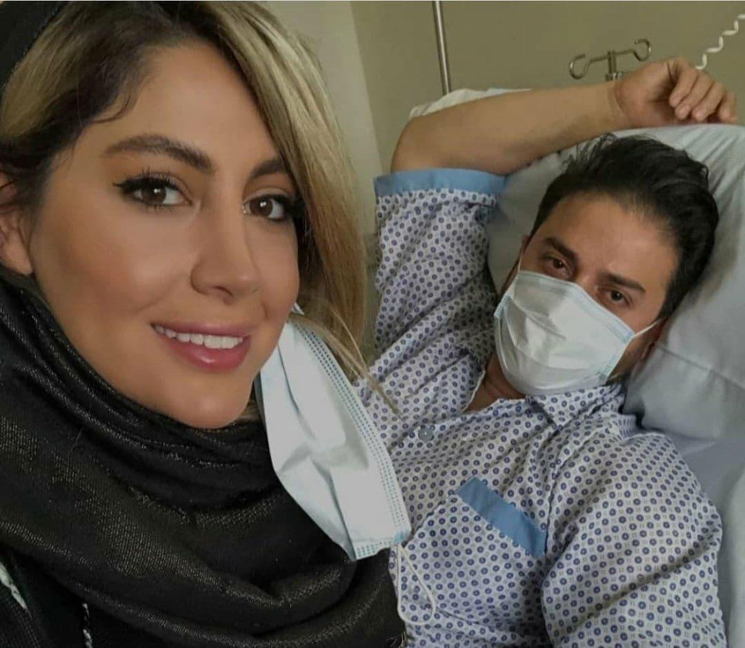 بابک جهانبخش و همسرش در بیمارستان