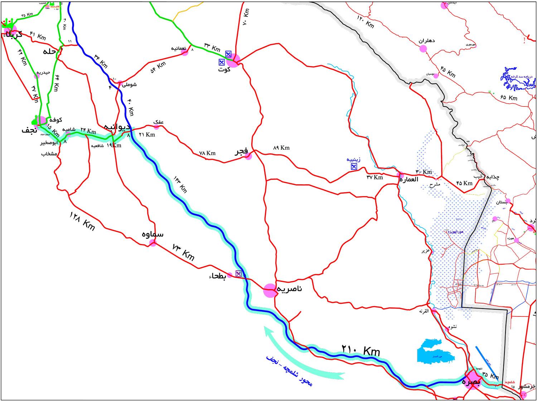 نقشه راهنمایی مرز شلمچه تا نجف اشرف