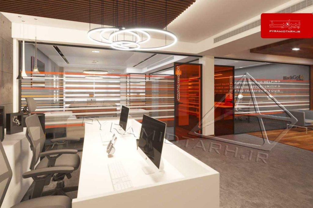 طراحی دکوراسیون داخلی اداری پیرامید طرح
