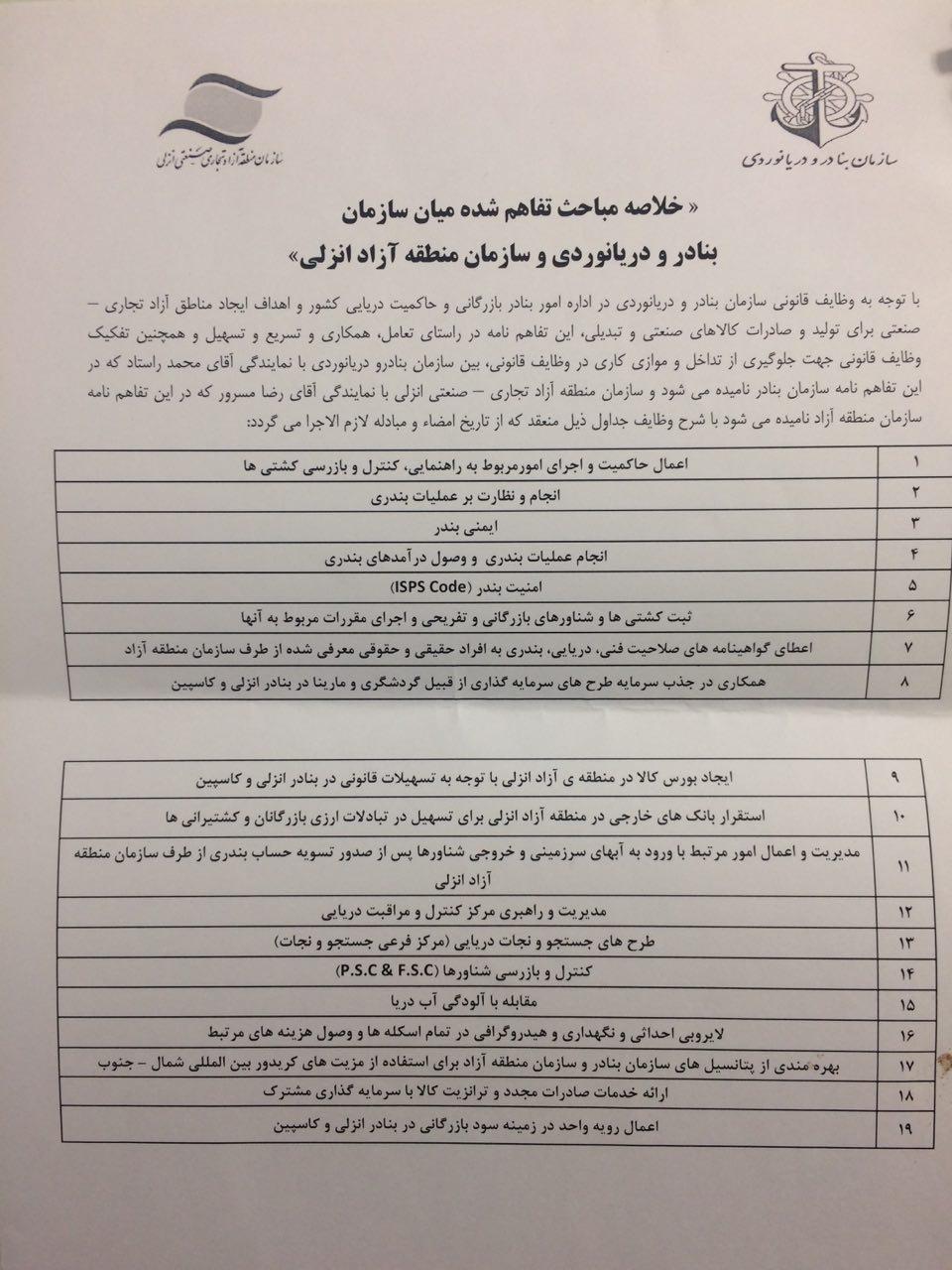 جزییات تفاهم نامه میان سازمان بنادر و دریانوردی و سازمان منطقه آزاد بندر انزلی