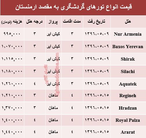 قیمت تور تابستانی ارمنستان؟ +جدول