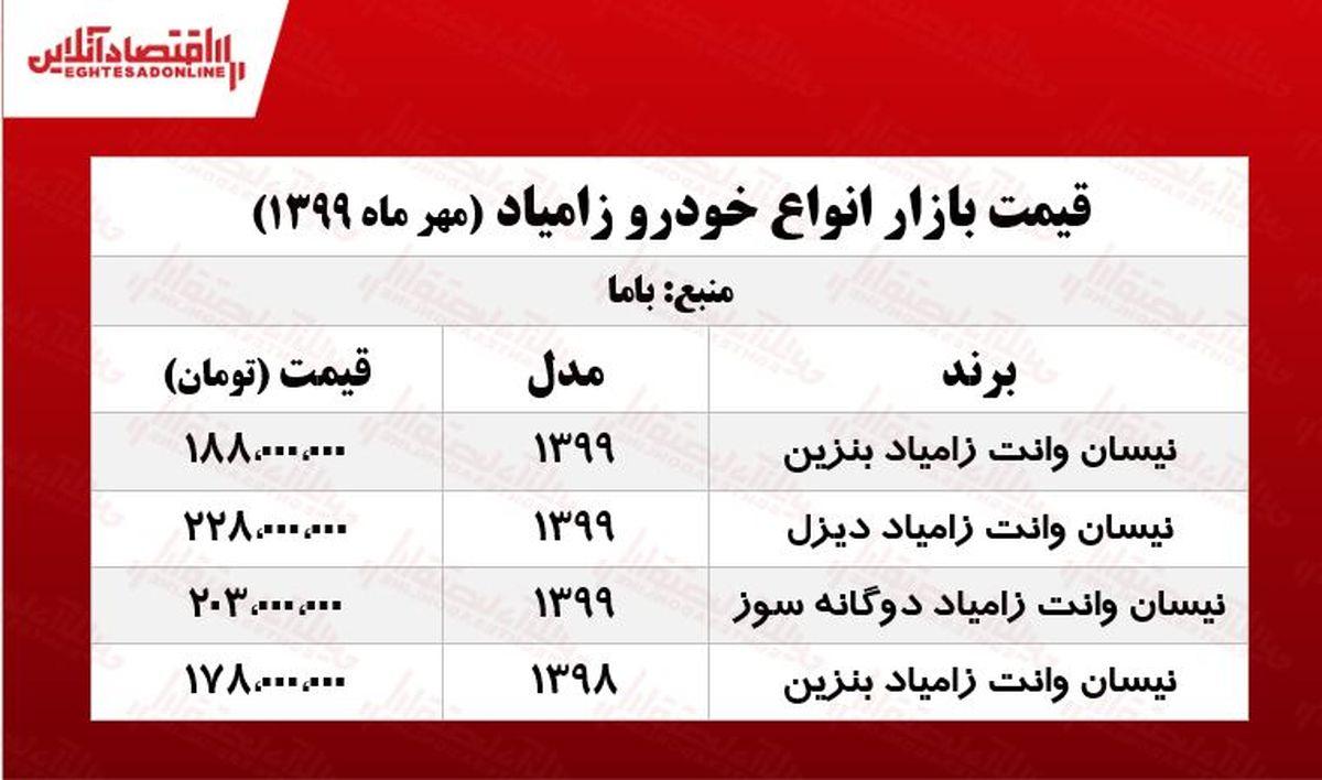 قیمت روز نیسان بنزینی +جدول