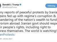 توییت ترامپ در حمایت از تجمعات اعتراضی