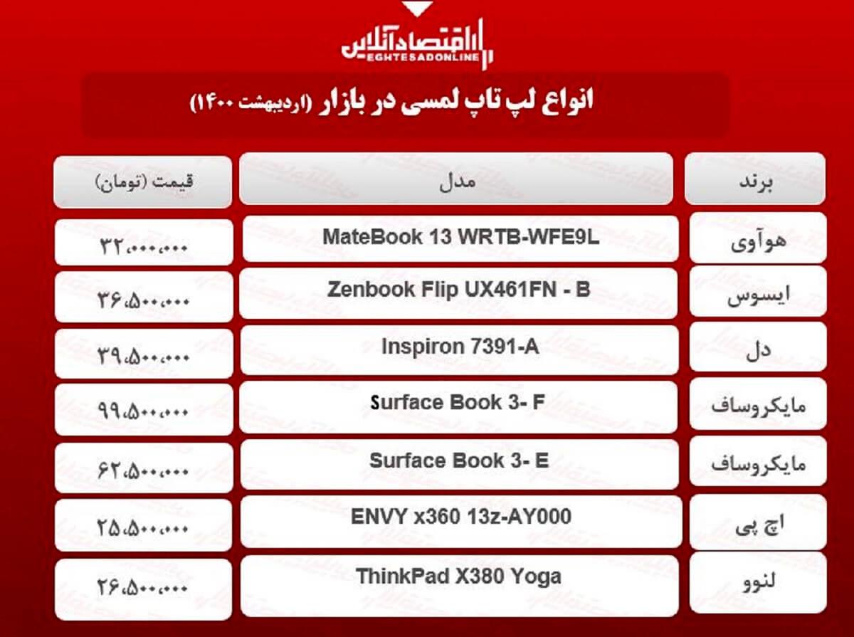 قیمت روز انواع لپ تاپ لمسی / ۲۱اردیبهشت