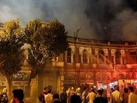 اولین تصاویر از آتش سوزی شدید میدان حسن آباد