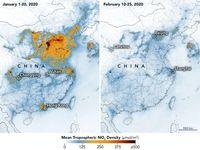 کرونا و کاهش چشمگیر آلودگی هوا در چین