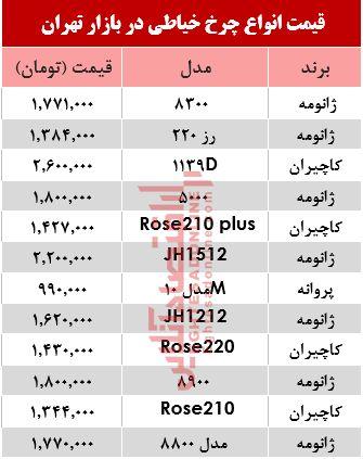 قیمت انواع چرخ خیاطی در بازار تهران؟ +جدول