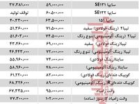 قیمت خودروهای سایپا در بازار تهران+ جدول