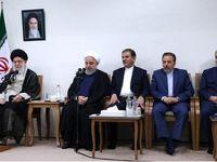 تصویری از روحانی، جهانگیری و واعظی در دیدار با رهبر انقلاب