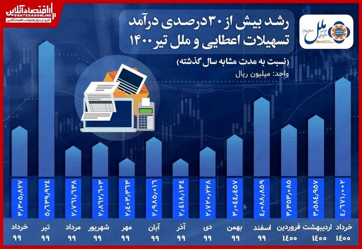 رشد بیش از ۳۰درصدی درآمد تسهیلات اعطایی وملل