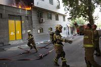 آتشسوزی میدان فردوسی تهران +عکس