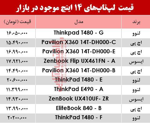 مظنه انواع لپ تاپ ۱۴اینچ در بازار؟ +جدول