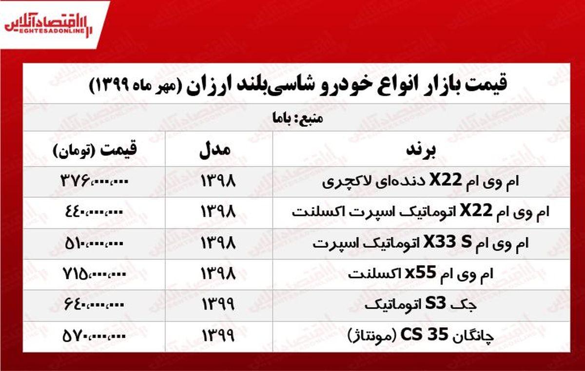 قیمت شاسیبلندهای ارزان بازار +جدول