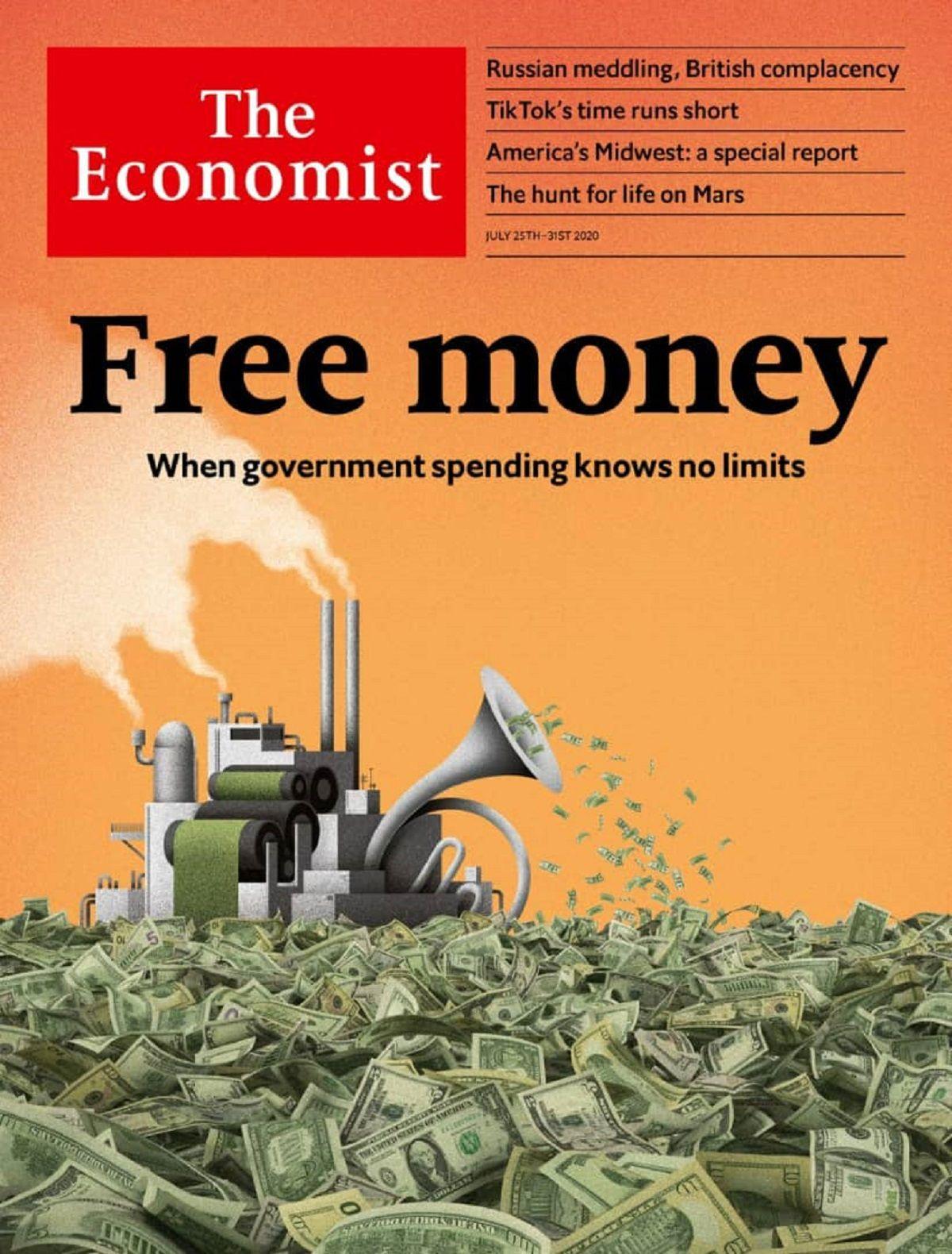 پول رایگان؛ روی جلد اکونومیست