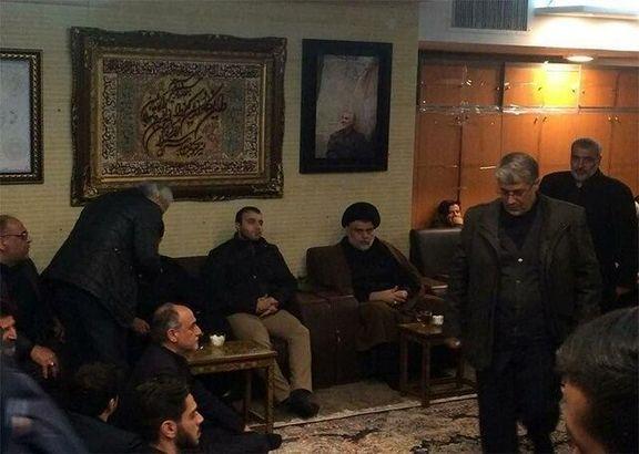 حضور مقتدی صدر در منزل شهید سردار قاسم سلیمانی +عکس