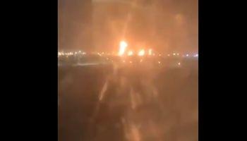 حمله پهپادی حوثیها به پالایشگاه نفت البقیق +فیلم