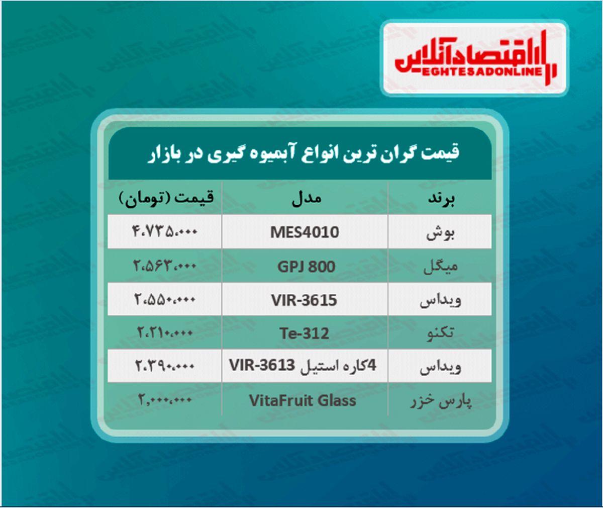 قیمت لوکس ترین مدل های آبمیوه گیری (خرداد ۱۴۰۰)