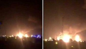 آتش سوزی در تاسیسات آرامکو سعودی بعد از حمله پهپادی +فیلم