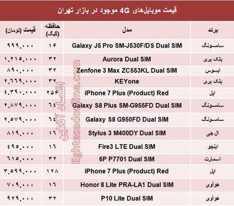 مظنه موبایلهای ۴Gدر بازار؟ +جدول
