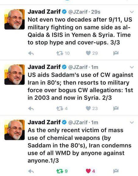 ظریف به حملههوایی شبگذشته آمریکا واکنش نشان داد