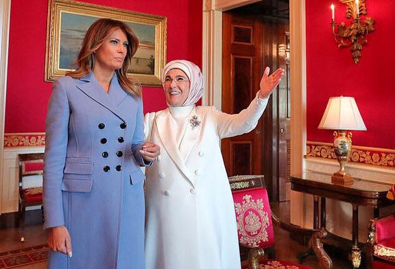 لباس ۳۵میلیونی ملانیا در دیدار با همسر اردوغان +عکس