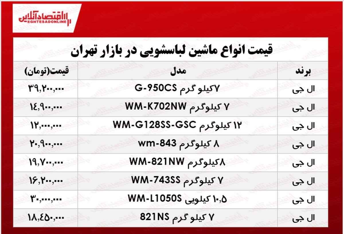 انواع ماشین لباسشویی ال جی در بازار چند؟ +جدول