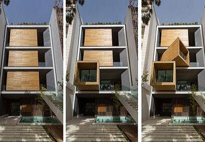 ساختمانی با اتاقهایمتحرک درتهران +عکس