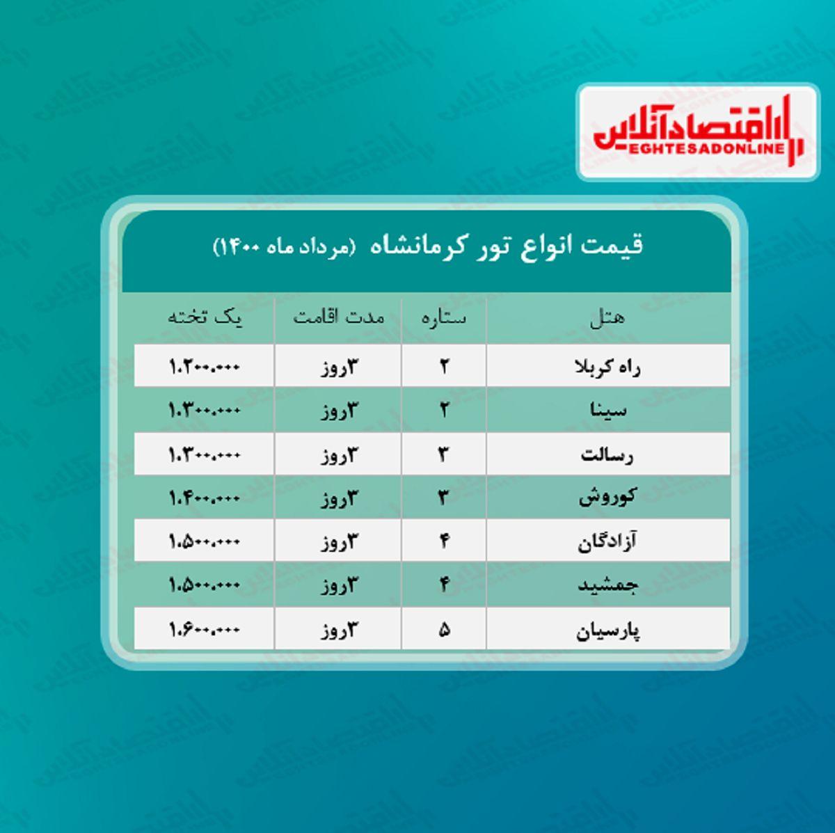 قیمت جدید تور کرمانشاه (هوایی) + جدول