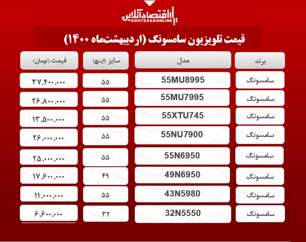 قیمت تلویزیون سامسونگ / ۷اردیبهشتماه
