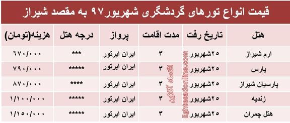 قیمت تور شیراز در شهریورماه۹۷ +جدول
