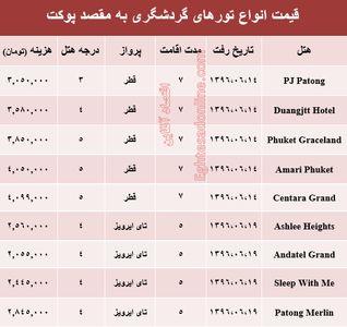 هزینه سفر به پوکت در شهریور ماه۹۶ +جدول