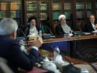 روحانی، رئیسی و لاریجانی پشت یک میز +عکس