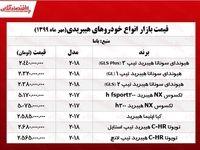 قیمت روز خودروهای هیبریدی +جدول