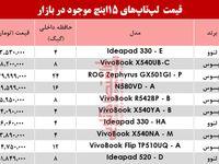 قیمت روز پرفروشترین لپتاپهای 15اینچ بازار+جدول