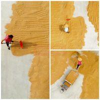 خشک کردن گندم در مزرعهای در تانگشان، استان ههبی +عکس