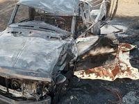 راننده وانت حمل گازوئیل در آتش سوخت +عکس