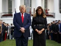 ترامپ و ملانیا در مراسم یادبود حادثه ۱۱ سپتامبر +تصاویر