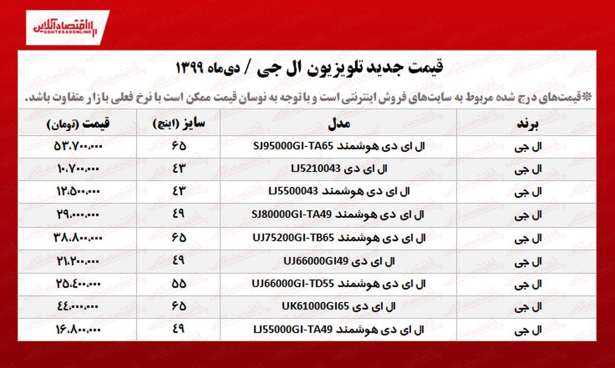 تلویزیون ال جی چند؟ +جدول
