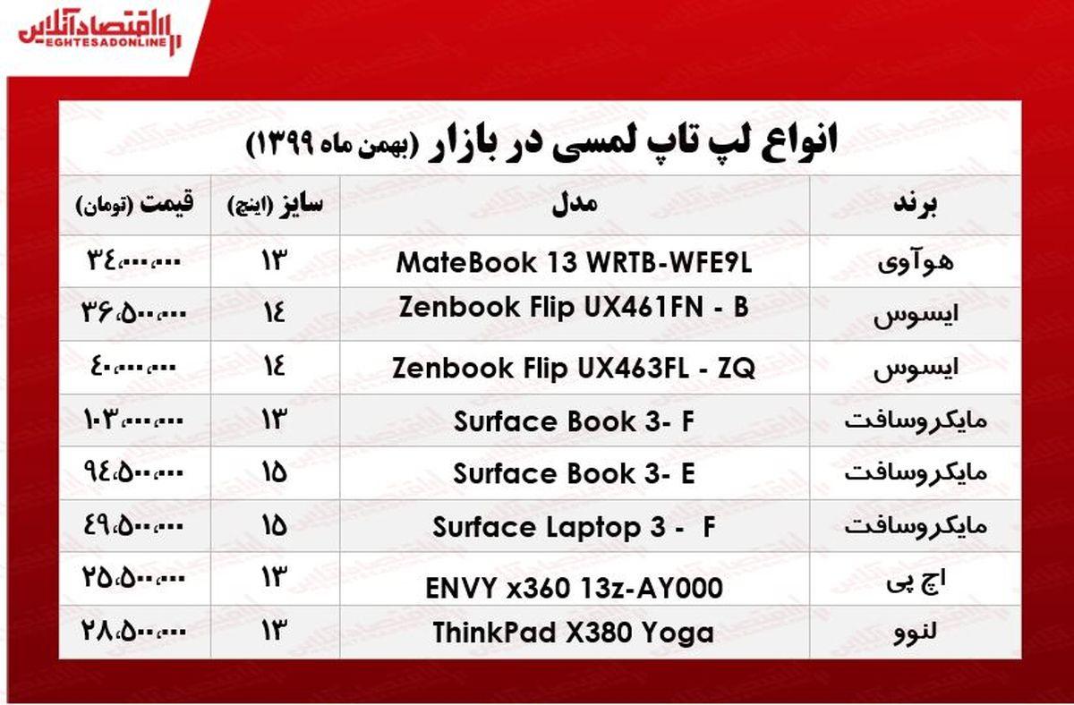 قیمت روز انواع لپ تاپ لمسی/ ۹بهمن ۹۹