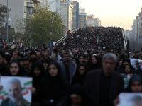سیل خروشان مردم تهران درمراسم وداع با پیکر شهید سلیمانی +عکس