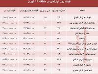 نرخ قطعی آپارتمان در منطقه 13 تهران؟ +جدول