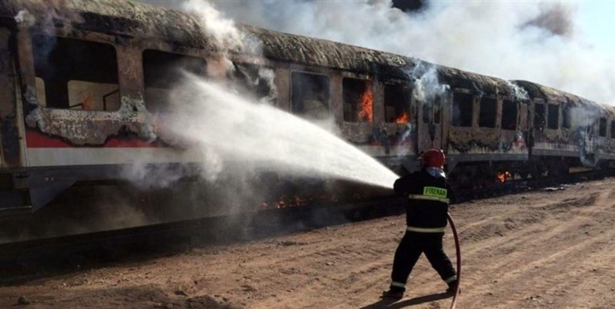 آتش سوزی 40واگن قطار باری