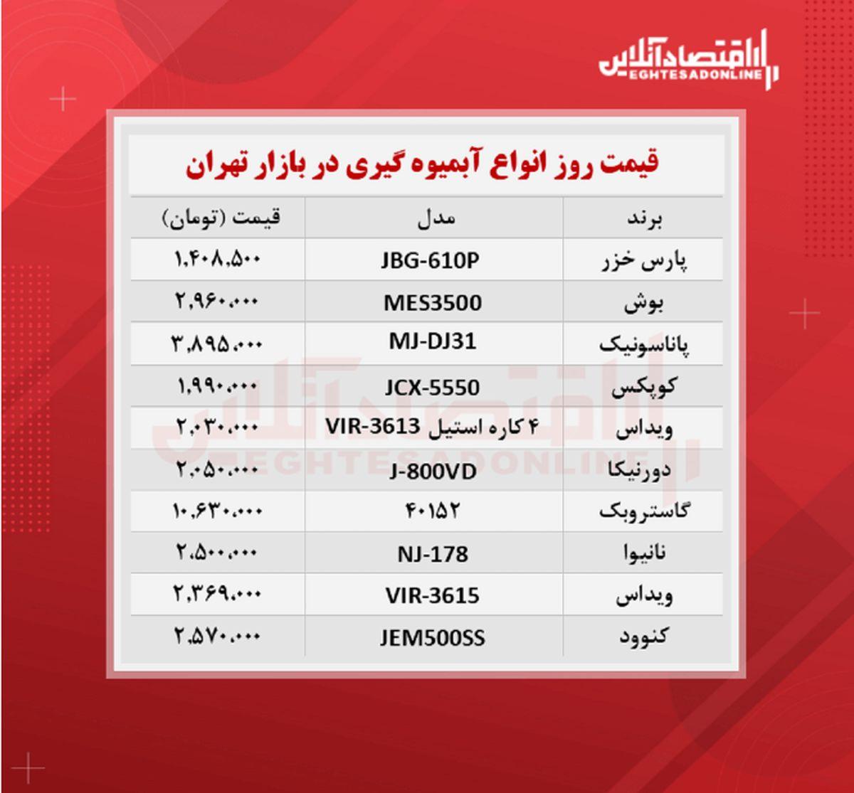 قیمت جدید آبمیوه گیری (۱۴۰۰/۷/۲۱)