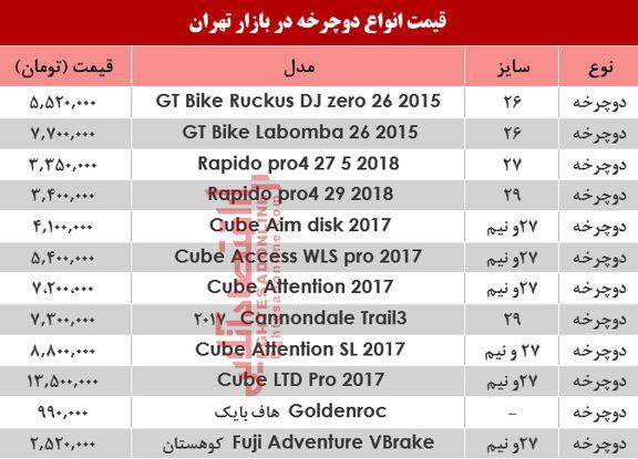 نرخ انواع دوچرخه در بازار تهران؟ +جدول