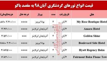 تور 3روزه باکو آذربایجان چند؟