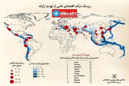 ریسک درآمد اقتصادی ناشی از زلزله در تهران و شهرهای جهان +اینفوگرافیک