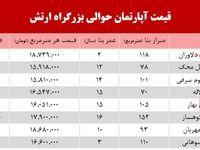 قیمت آپارتمان حوالی بزرگراه ارتش+جدول