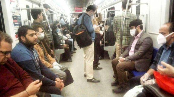 ازدحام جمعیت در مترو تهران +عکس