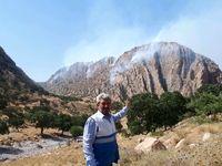 تلاش برای مهار آتش سوزی کوه خامی +تصاویر